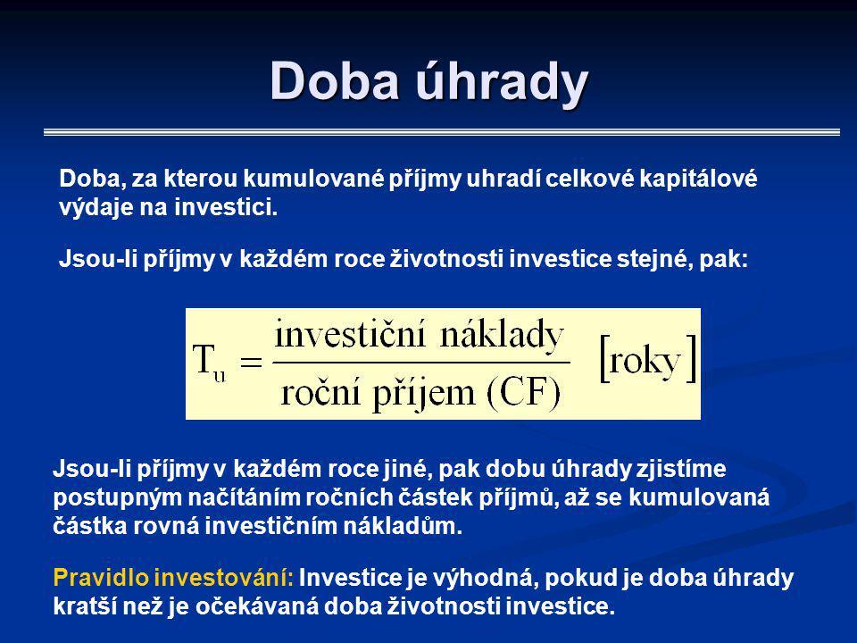 Doba úhrady Doba, za kterou kumulované příjmy uhradí celkové kapitálové výdaje na investici.