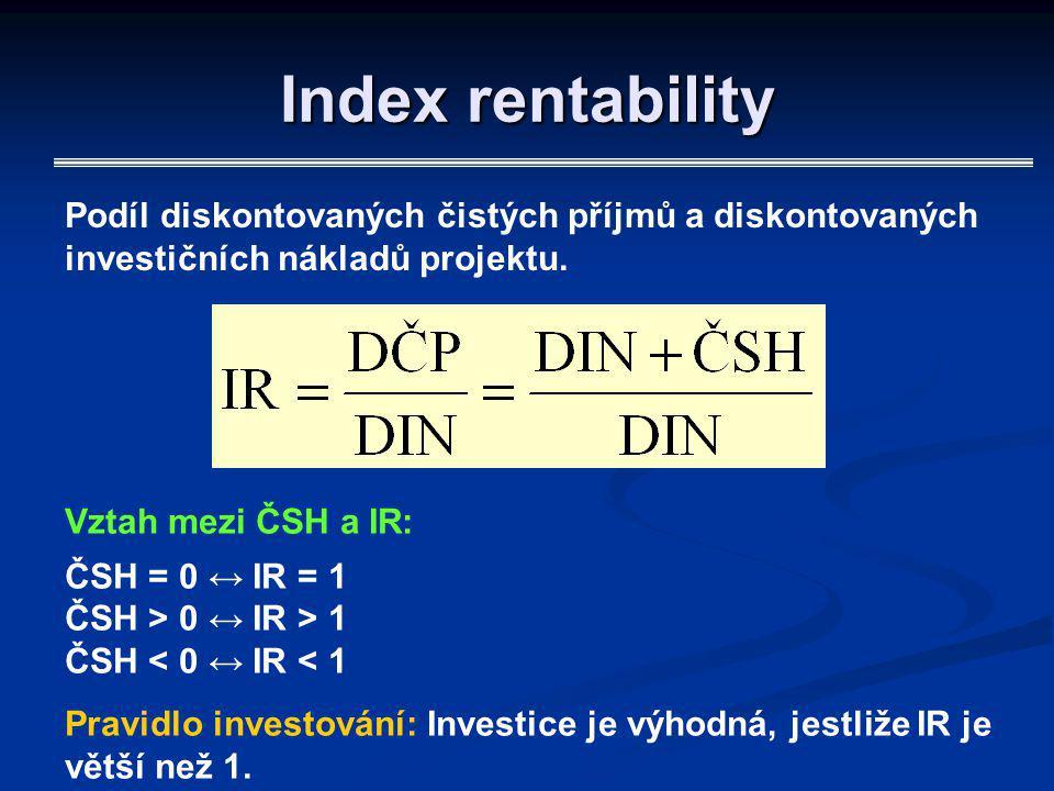 Index rentability Podíl diskontovaných čistých příjmů a diskontovaných investičních nákladů projektu.