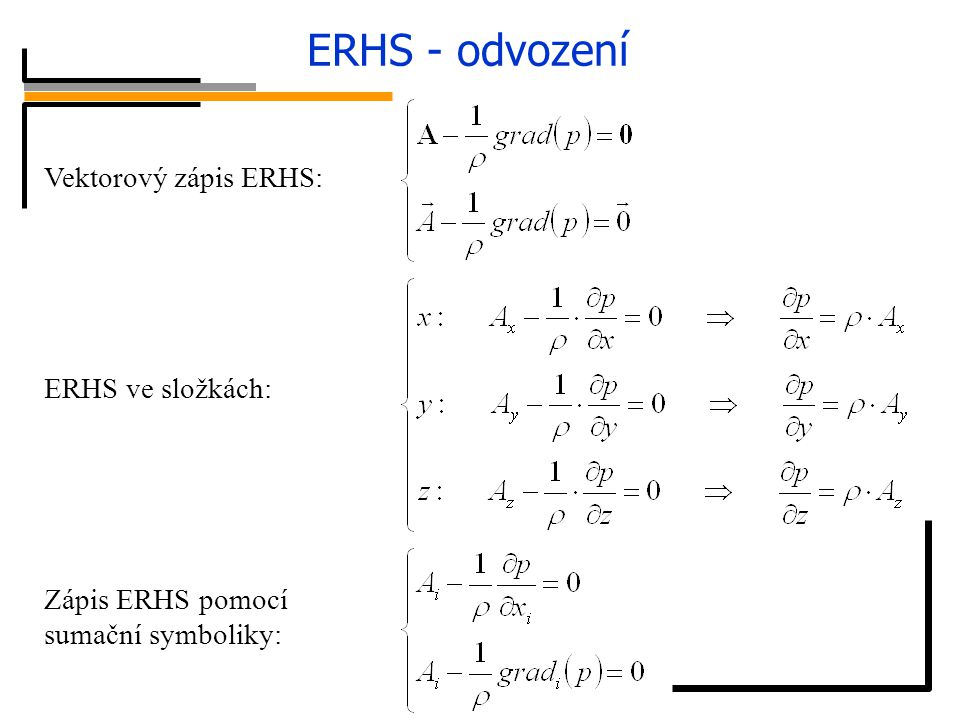 ERHS - odvození síly tlakové síly hmotnostní Vektorový zápis ERHS: