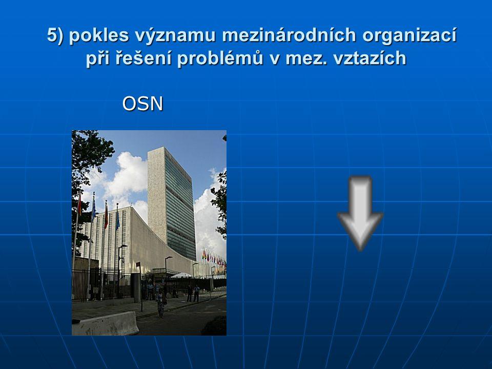 5) pokles významu mezinárodních organizací při řešení problémů v mez