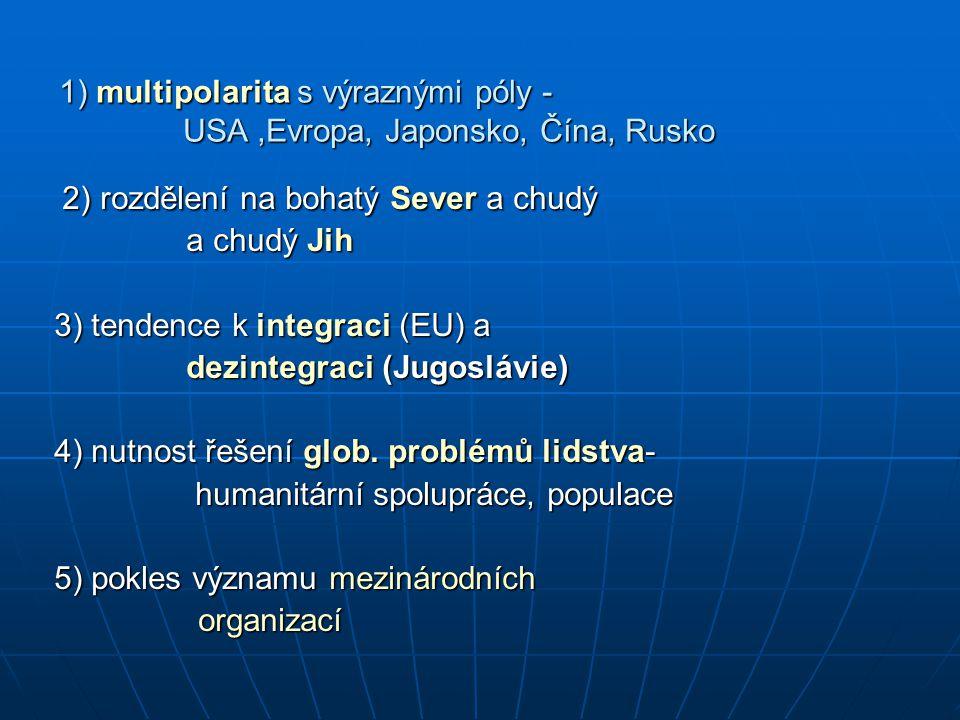 1) multipolarita s výraznými póly - USA ,Evropa, Japonsko, Čína, Rusko