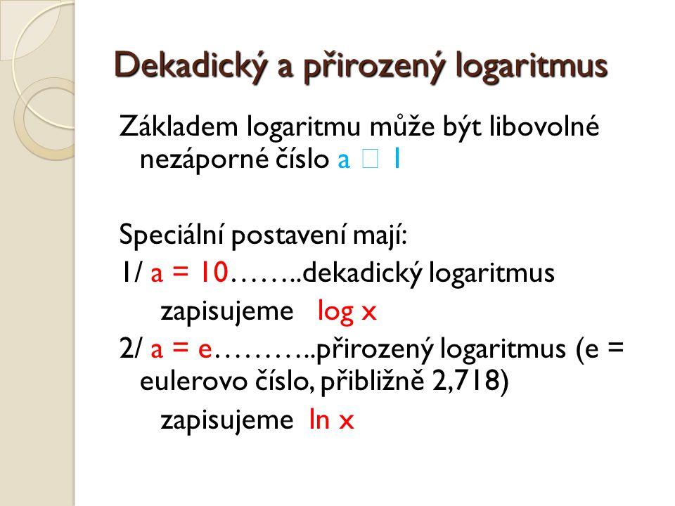 Dekadický a přirozený logaritmus
