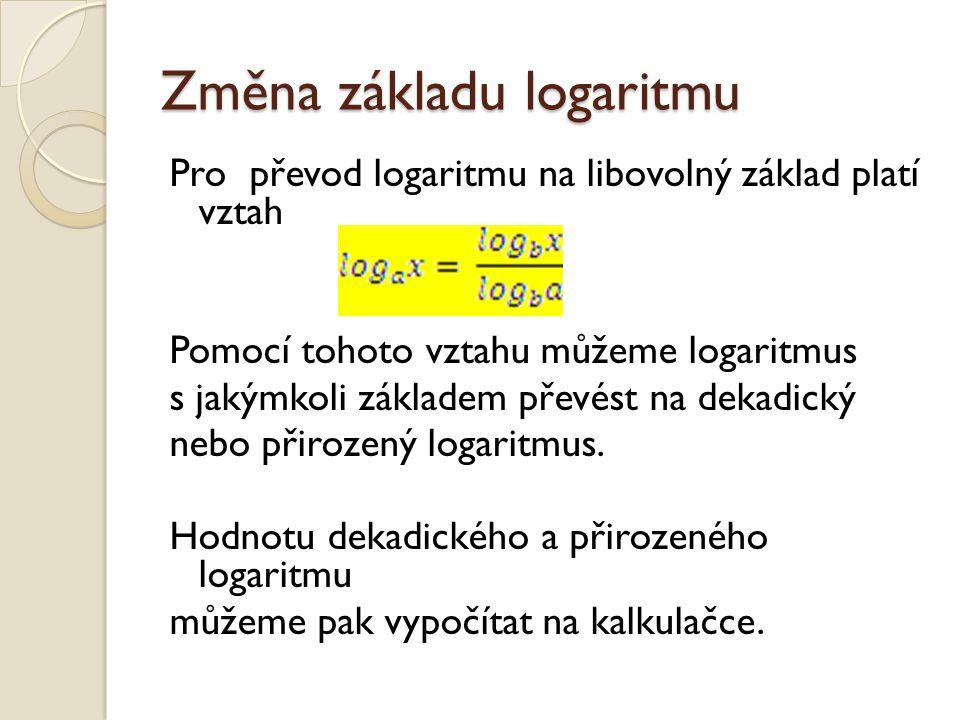 Změna základu logaritmu