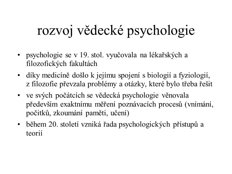 rozvoj vědecké psychologie