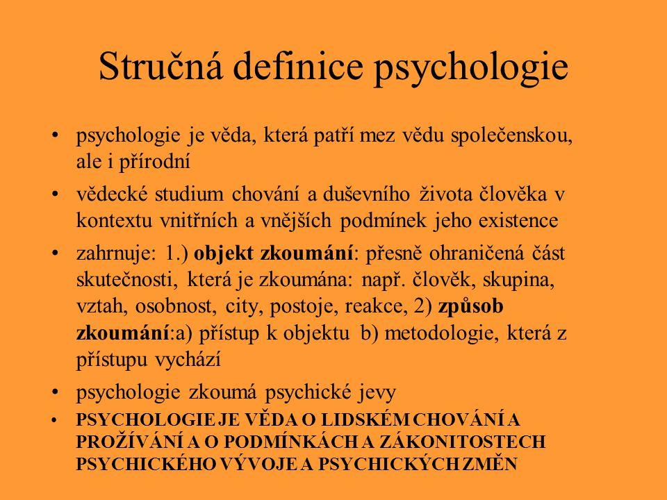 Stručná definice psychologie