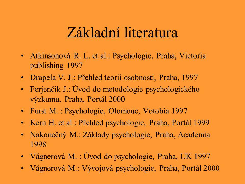 Základní literatura Atkinsonová R. L. et al.: Psychologie, Praha, Victoria publishing 1997. Drapela V. J.: Přehled teorií osobnosti, Praha, 1997.