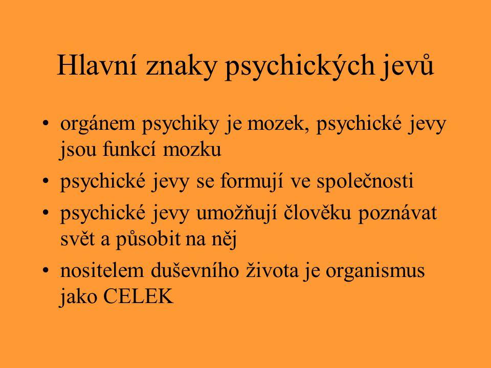 Hlavní znaky psychických jevů