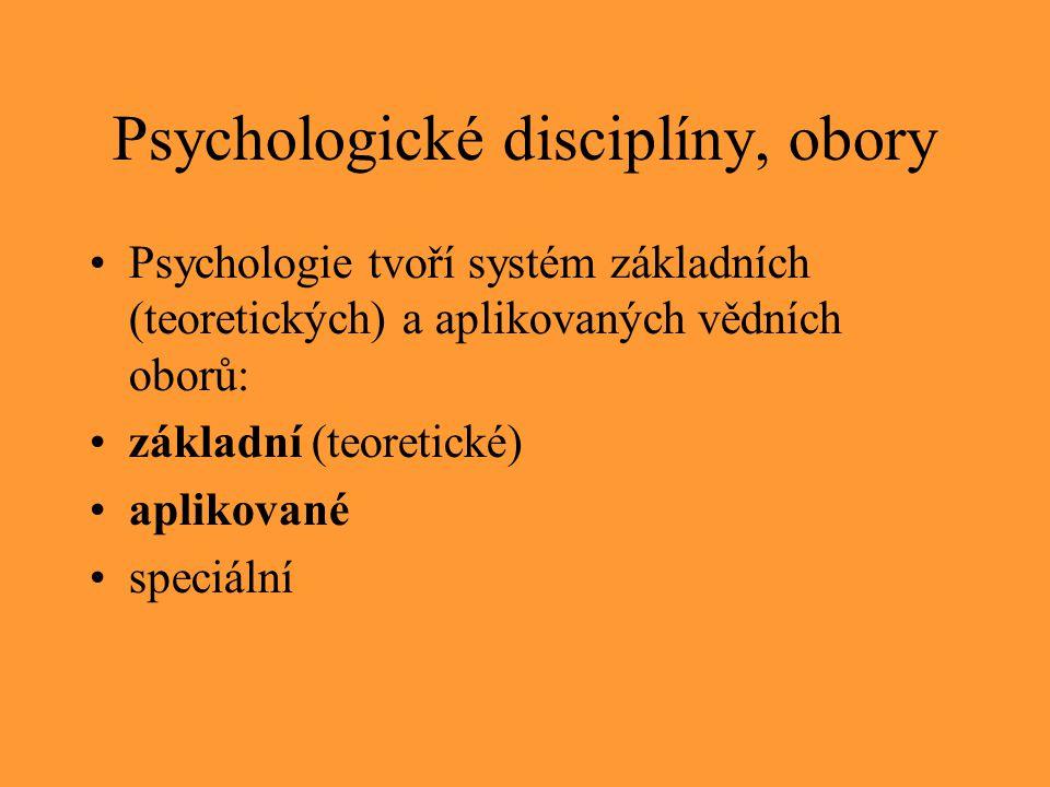 Psychologické disciplíny, obory