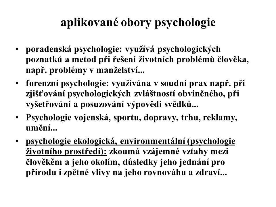 aplikované obory psychologie