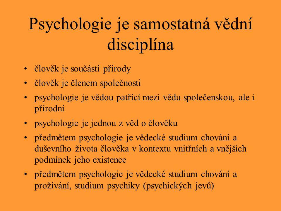 Psychologie je samostatná vědní disciplína