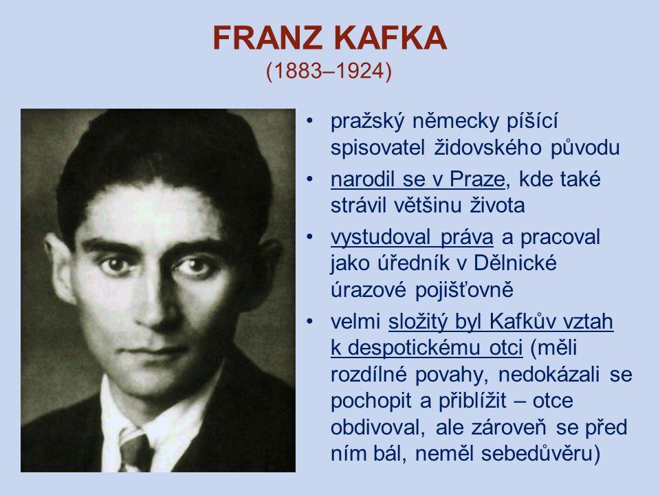FRANZ KAFKA (1883–1924) pražský německy píšící spisovatel židovského původu. narodil se v Praze, kde také strávil většinu života.