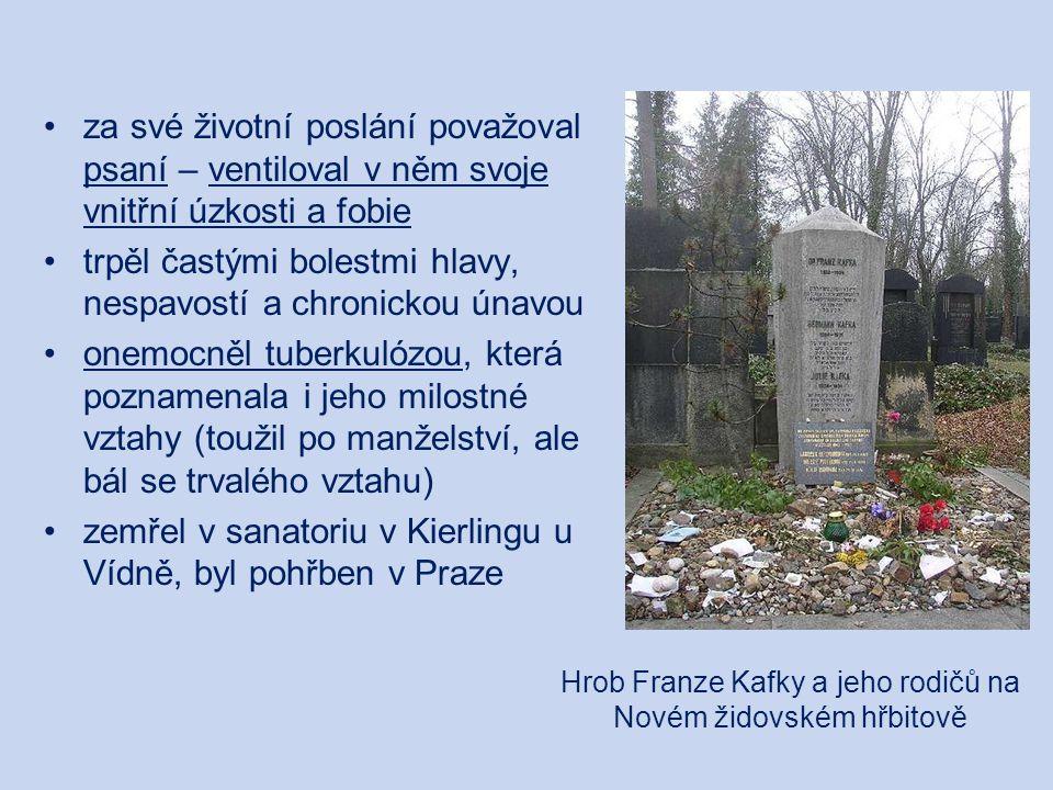 Hrob Franze Kafky a jeho rodičů na Novém židovském hřbitově