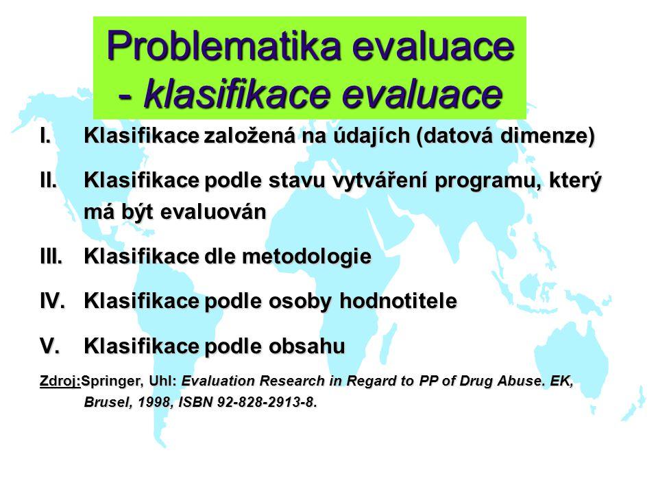 Problematika evaluace - klasifikace evaluace