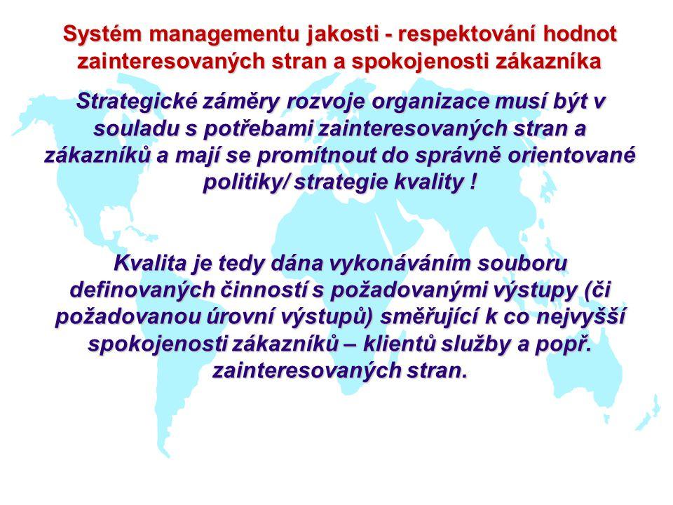Systém managementu jakosti - respektování hodnot zainteresovaných stran a spokojenosti zákazníka