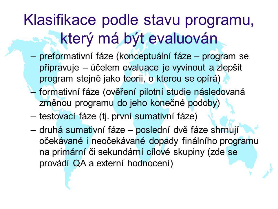 Klasifikace podle stavu programu, který má být evaluován