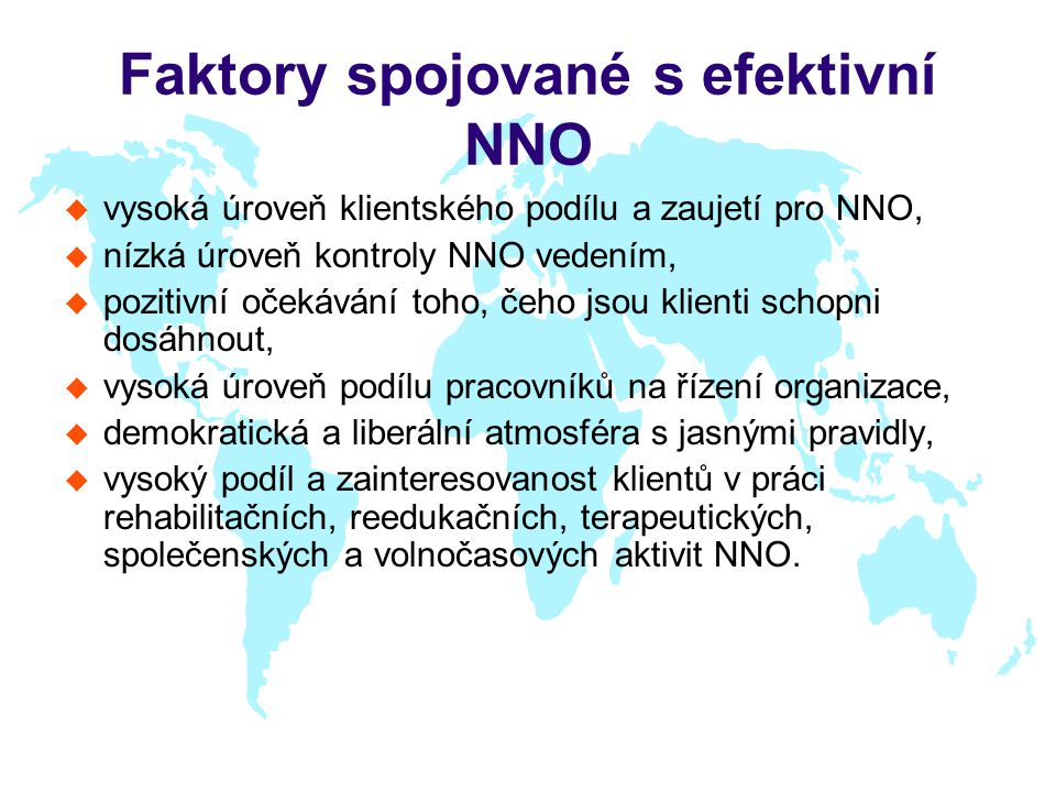 Faktory spojované s efektivní NNO