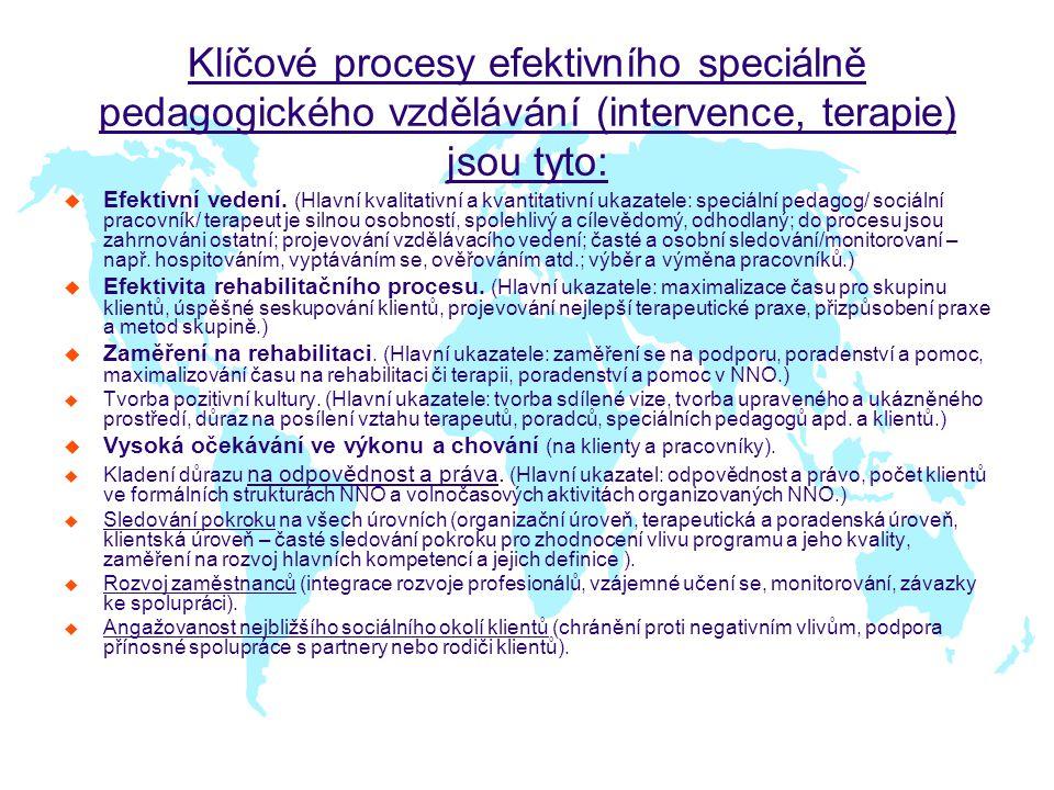 Klíčové procesy efektivního speciálně pedagogického vzdělávání (intervence, terapie) jsou tyto: