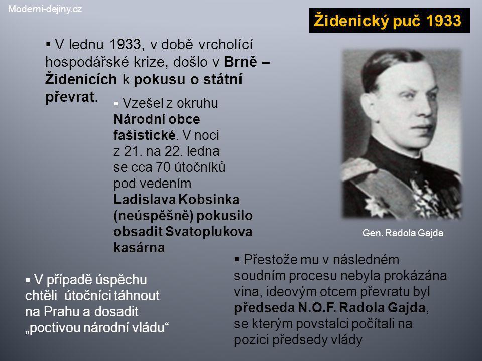 Moderni-dejiny.cz Židenický puč 1933. V lednu 1933, v době vrcholící hospodářské krize, došlo v Brně – Židenicích k pokusu o státní převrat.