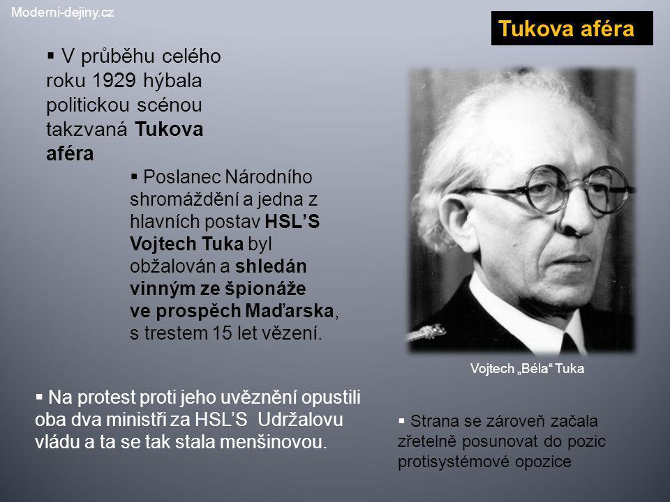 Moderni-dejiny.cz Tukova aféra. V průběhu celého roku 1929 hýbala politickou scénou takzvaná Tukova aféra.