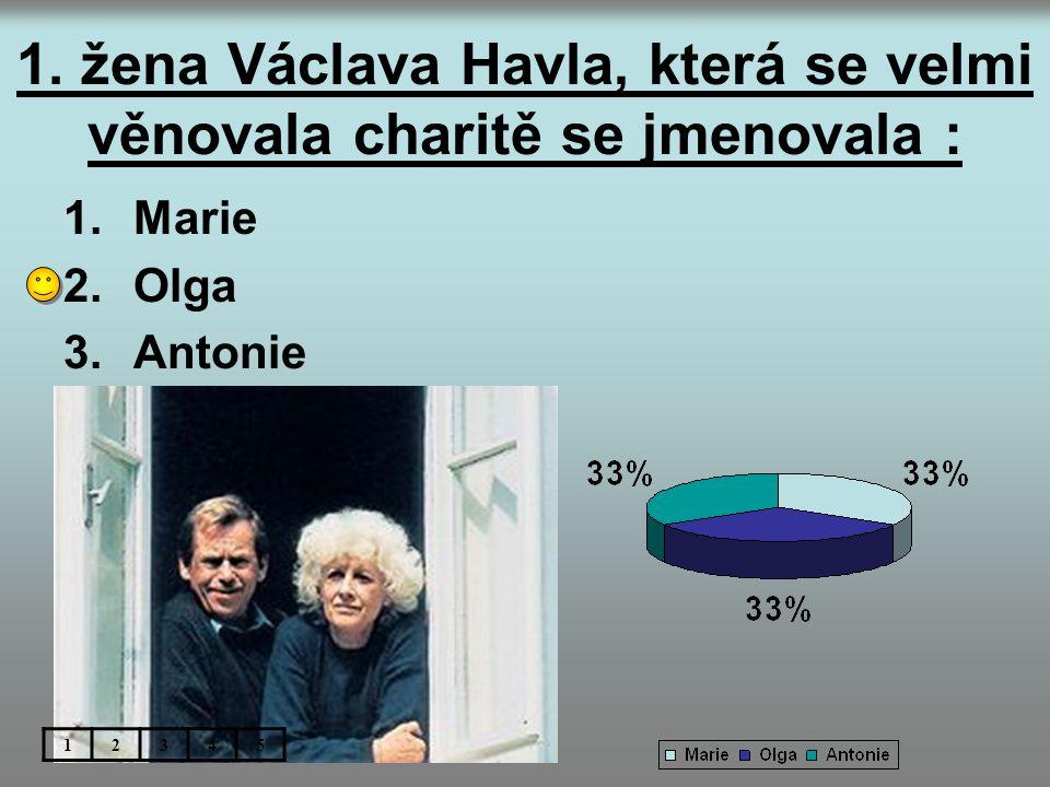 1. žena Václava Havla, která se velmi věnovala charitě se jmenovala :