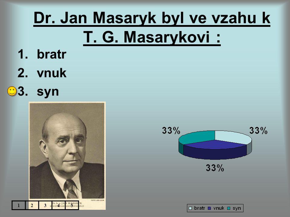 Dr. Jan Masaryk byl ve vzahu k T. G. Masarykovi :