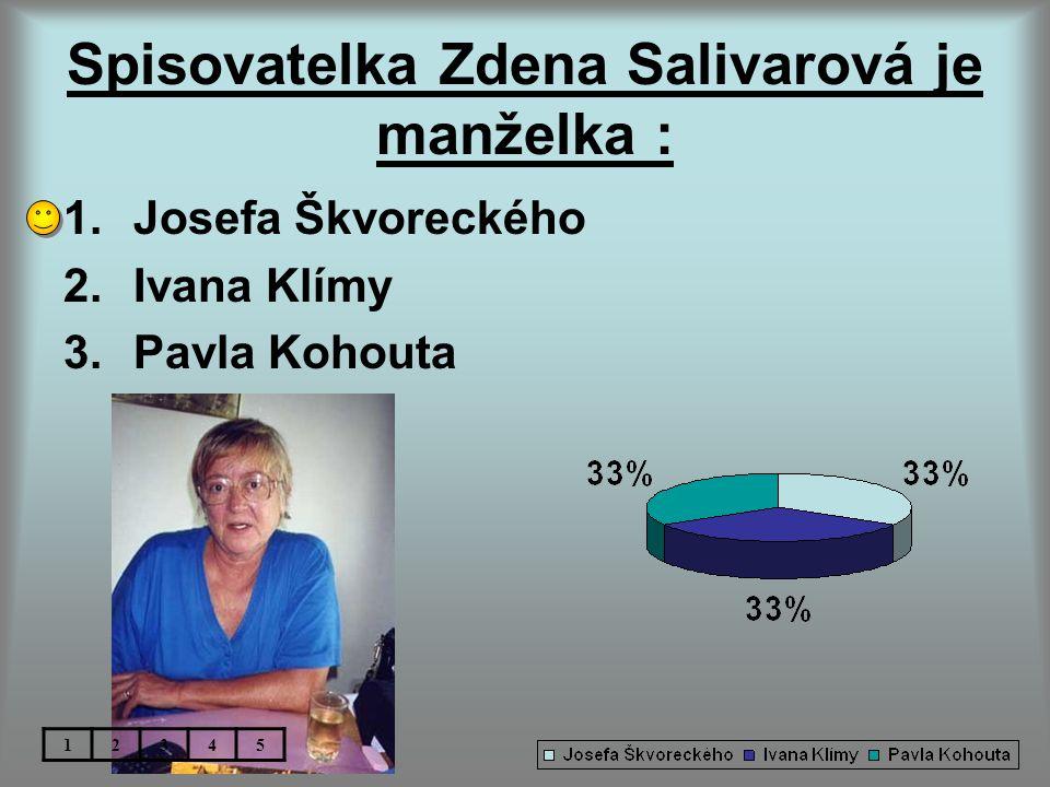 Spisovatelka Zdena Salivarová je manželka :