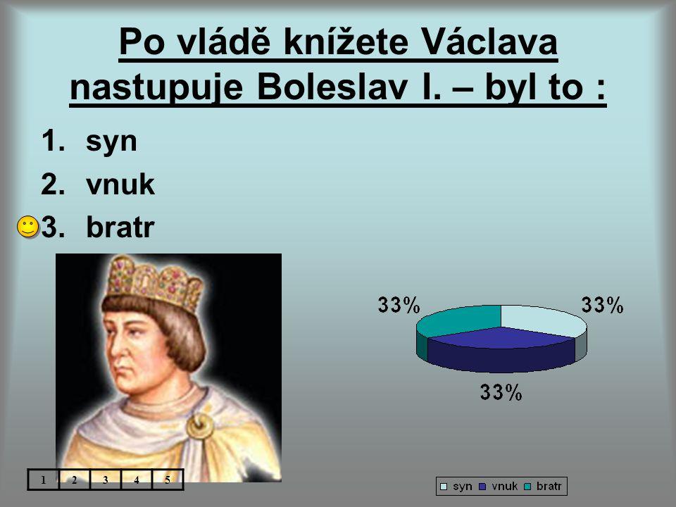 Po vládě knížete Václava nastupuje Boleslav I. – byl to :