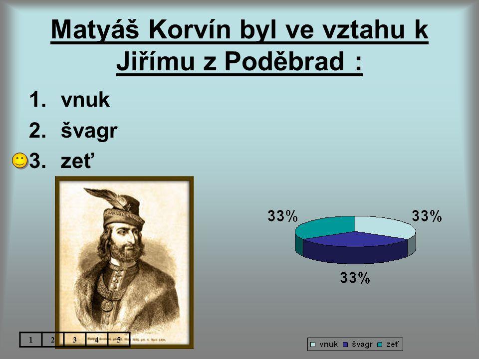 Matyáš Korvín byl ve vztahu k Jiřímu z Poděbrad :