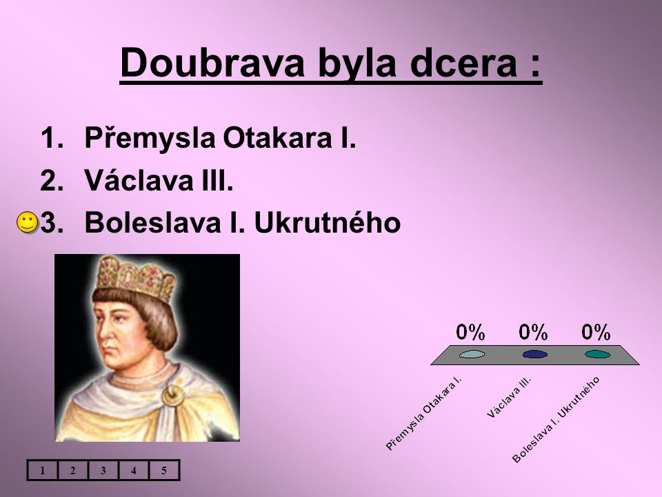 Doubrava byla dcera : Přemysla Otakara I. Václava III.