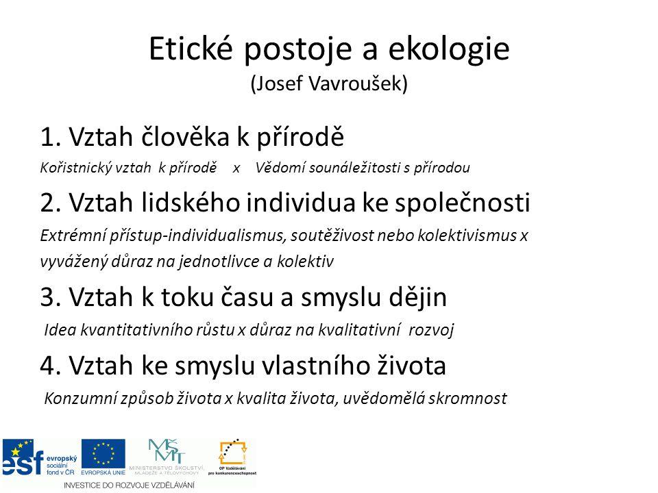 Etické postoje a ekologie (Josef Vavroušek)