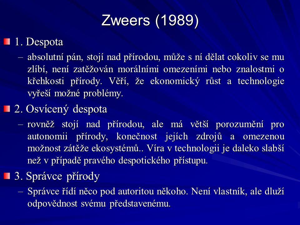 Zweers (1989) 1. Despota 2. Osvícený despota 3. Správce přírody