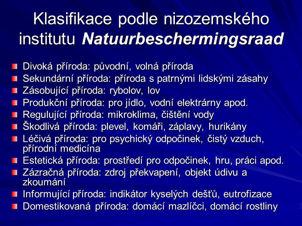 Klasifikace podle nizozemského institutu Natuurbeschermingsraad