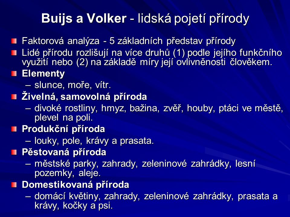 Buijs a Volker - lidská pojetí přírody