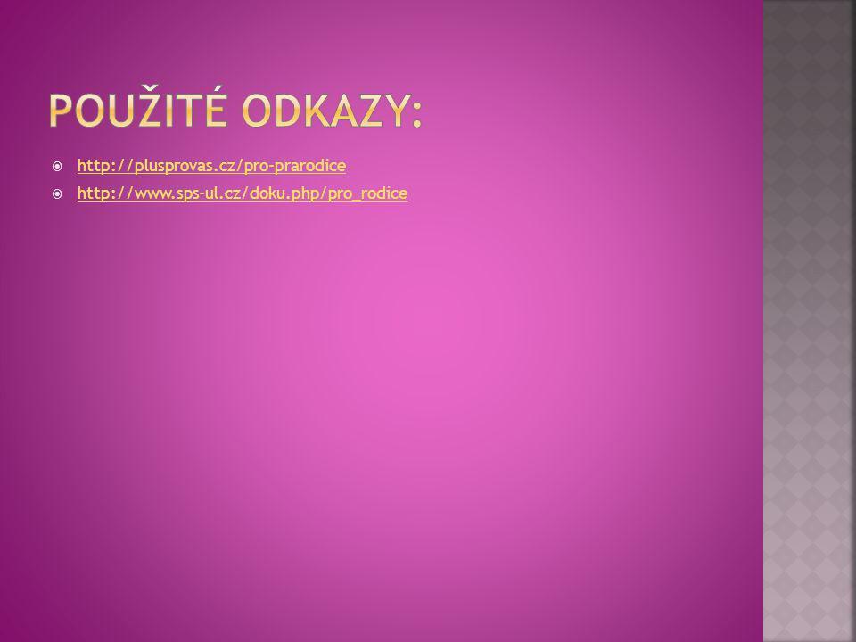 Použité odkazy: http://plusprovas.cz/pro-prarodice