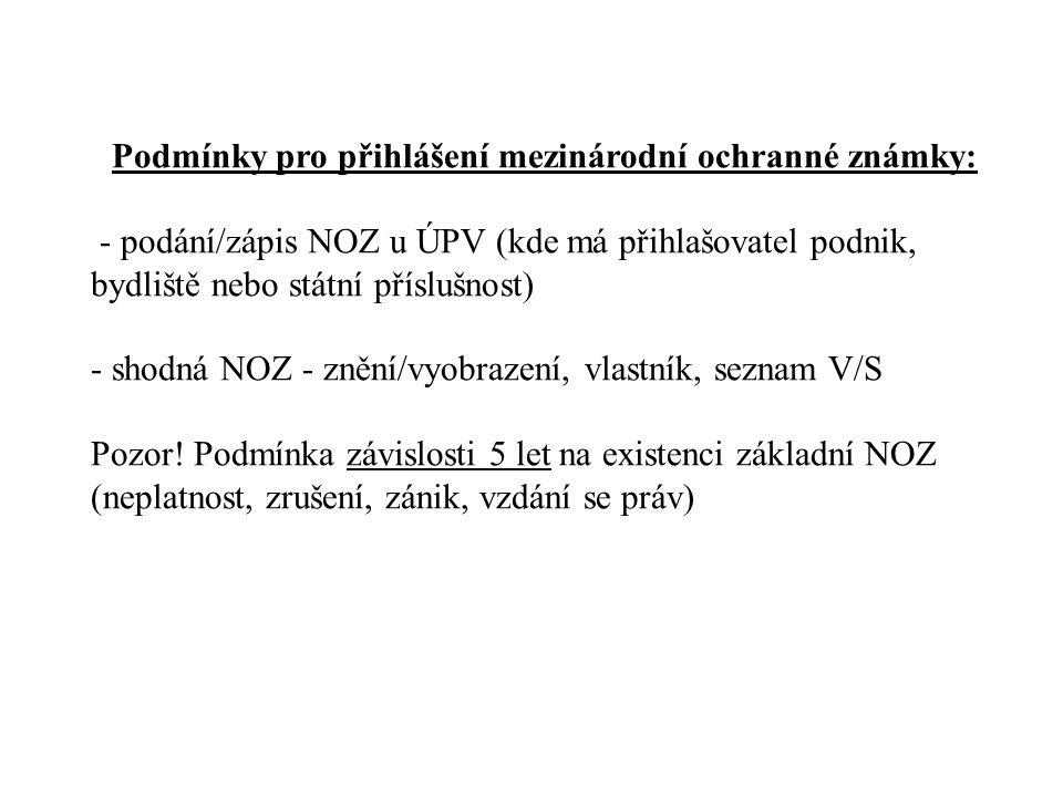 Podmínky pro přihlášení mezinárodní ochranné známky: