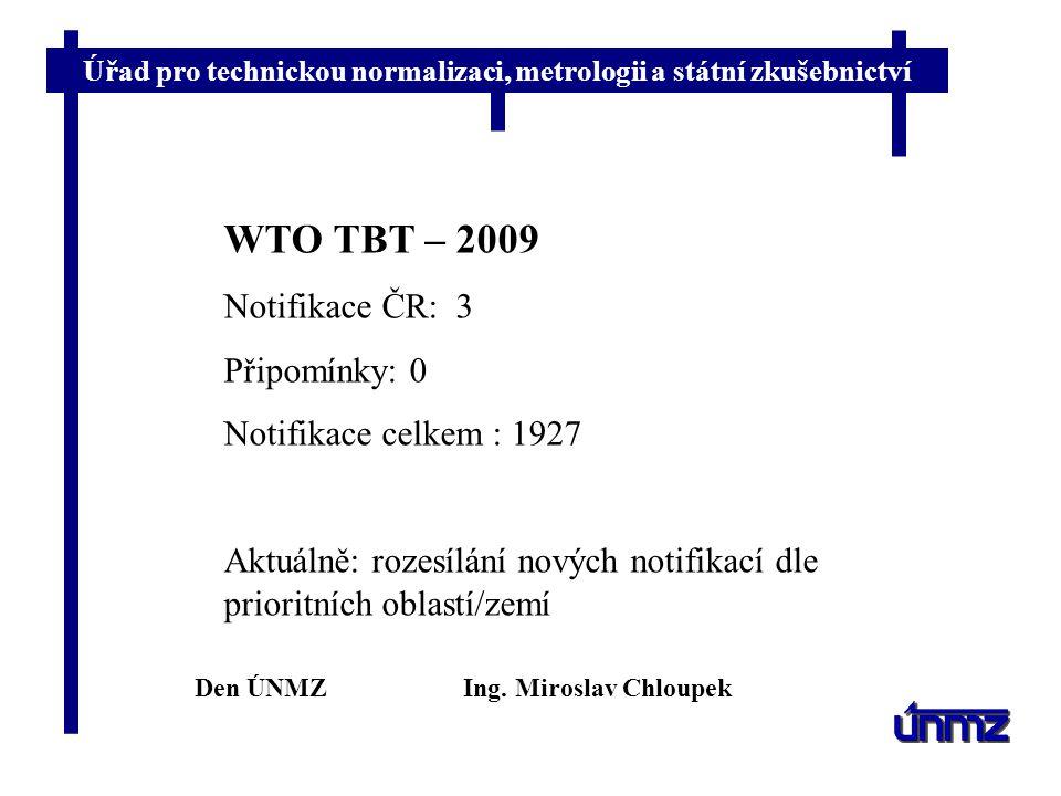 WTO TBT – 2009 Notifikace ČR: 3 Připomínky: 0 Notifikace celkem : 1927
