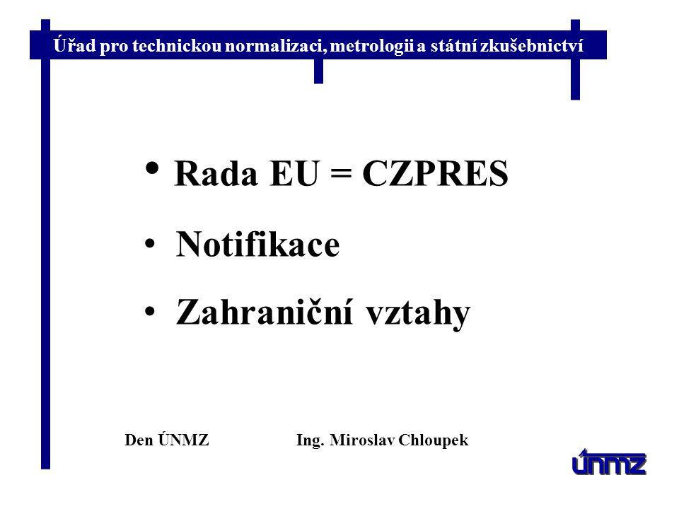 Rada EU = CZPRES Notifikace Zahraniční vztahy Den ÚNMZ