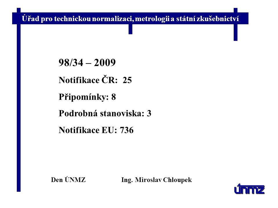 98/34 – 2009 Notifikace ČR: 25 Připomínky: 8 Podrobná stanoviska: 3