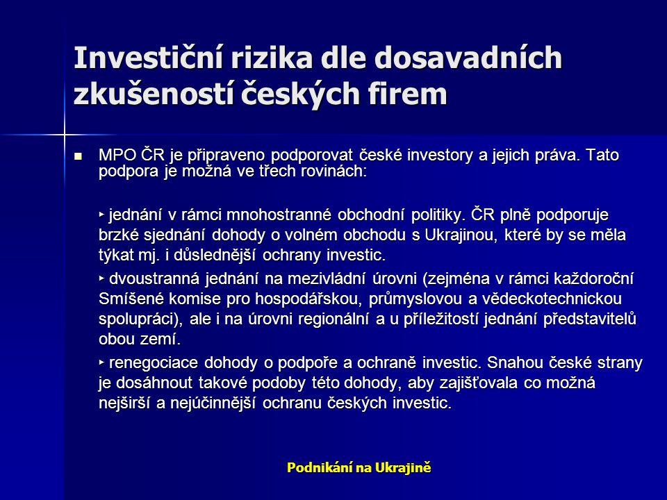 Investiční rizika dle dosavadních zkušeností českých firem