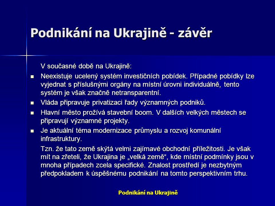 Podnikání na Ukrajině - závěr