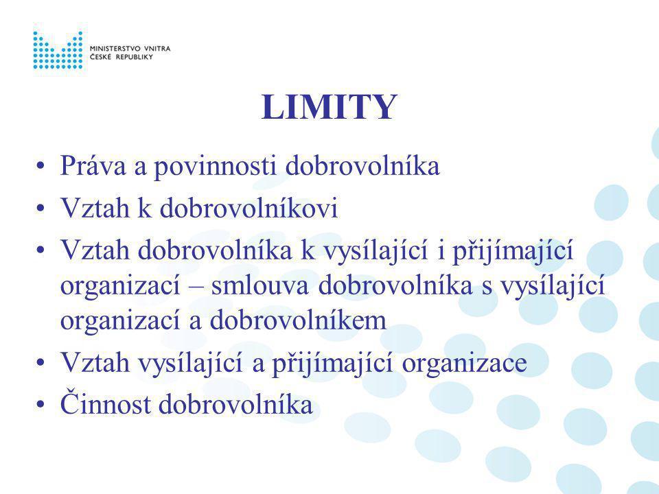 LIMITY Práva a povinnosti dobrovolníka Vztah k dobrovolníkovi