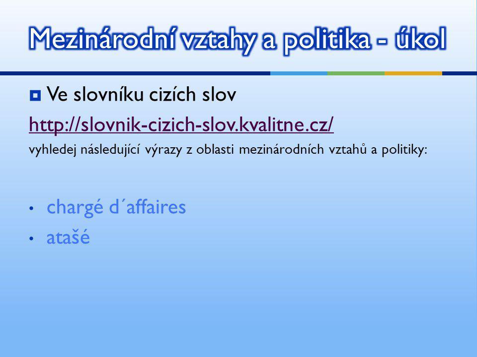 Mezinárodní vztahy a politika - úkol