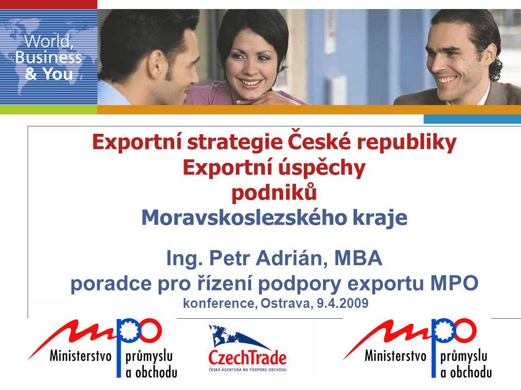 Exportní strategie České republiky Exportní úspěchy podniků Moravskoslezského kraje Ing.