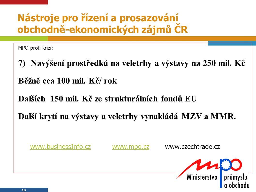 Nástroje pro řízení a prosazování obchodně-ekonomických zájmů ČR