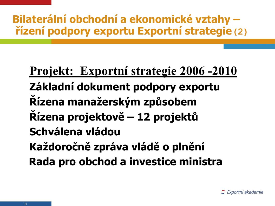 Projekt: Exportní strategie 2006 -2010