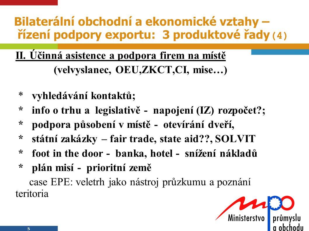 Bilaterální obchodní a ekonomické vztahy – řízení podpory exportu: 3 produktové řady(4)