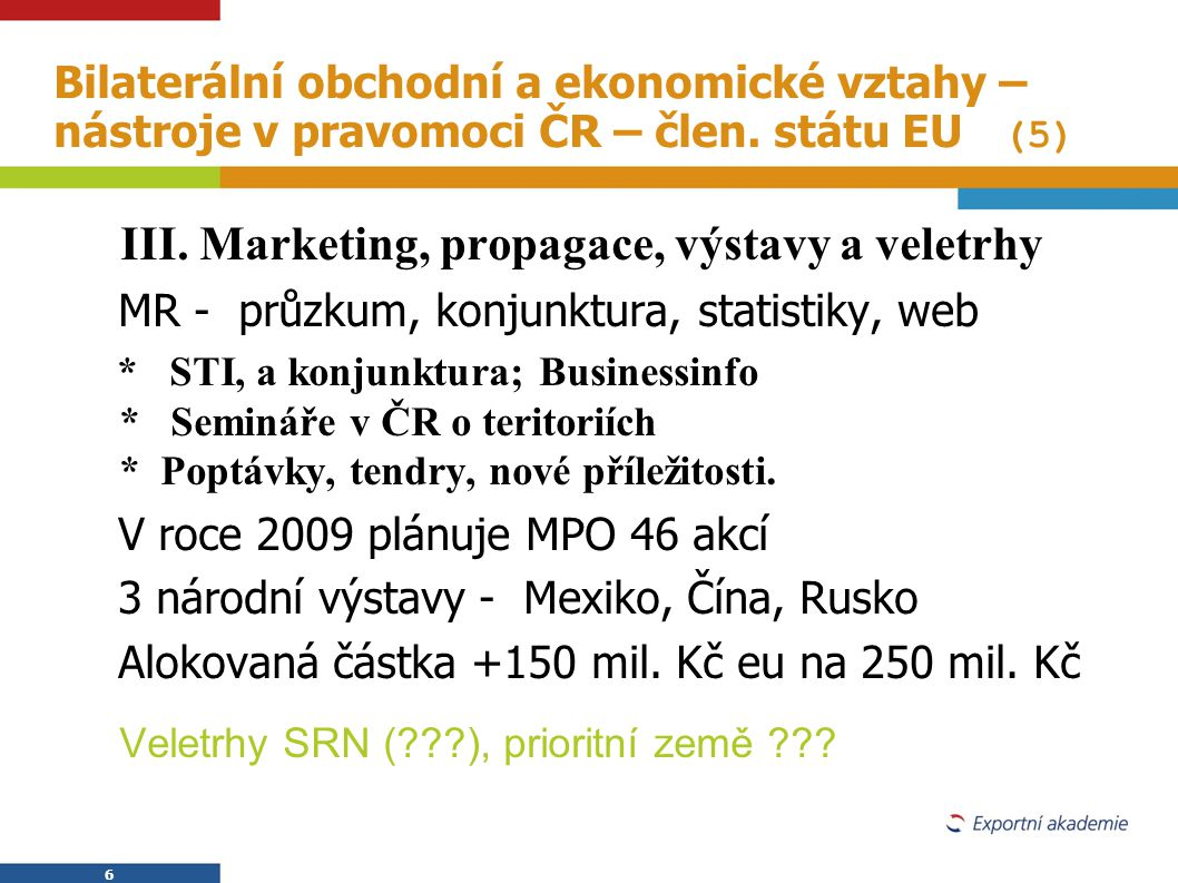 III. Marketing, propagace, výstavy a veletrhy