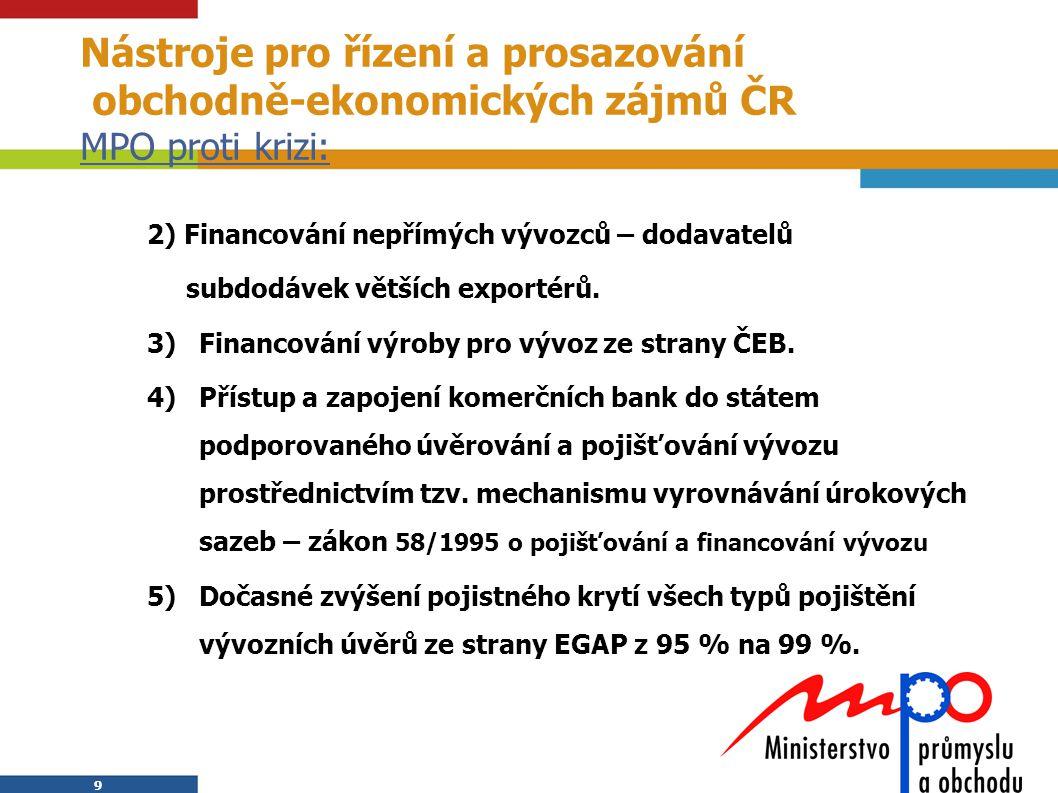 Nástroje pro řízení a prosazování obchodně-ekonomických zájmů ČR MPO proti krizi: