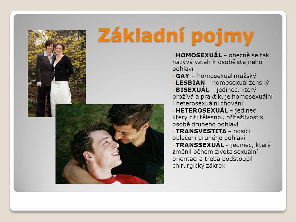 Základní pojmy HOMOSEXUÁL – obecně se tak nazývá vztah k osobě stejného pohlaví. GAY – homosexuál mužský.