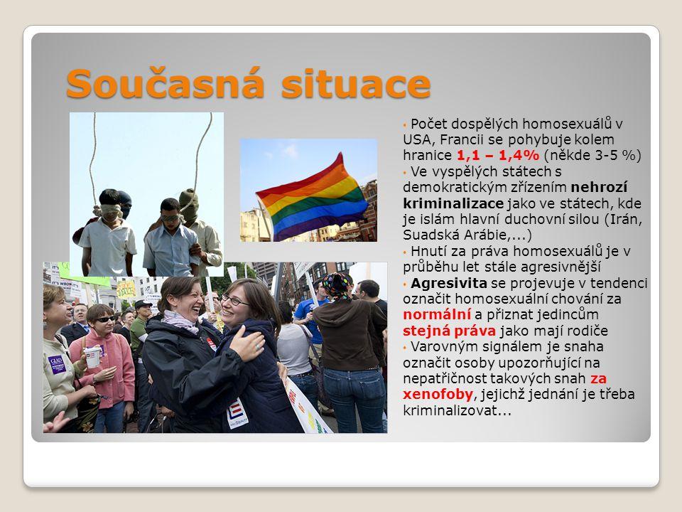 Současná situace Počet dospělých homosexuálů v USA, Francii se pohybuje kolem hranice 1,1 – 1,4% (někde 3-5 %)